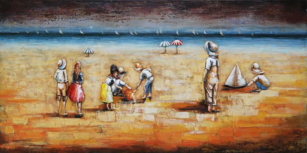 Eliassen 3D Malerei Metall 70x140cm Strand mit Kindern