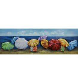 Schilderij 3d metaal 30x90cm Parasols