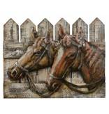 Schilderij 3d metaal-hout 40x50cm Paarden
