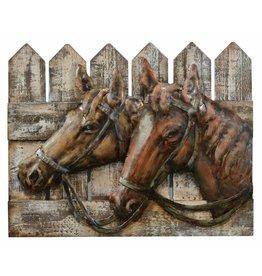 Painting 3d metal-wood 40x50cm Horses
