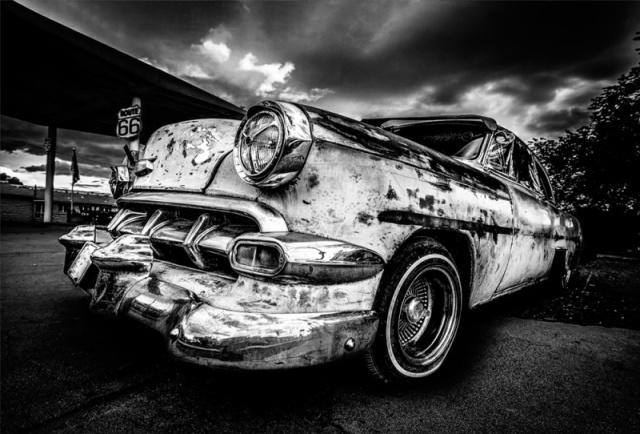 Ter Halle Glasschilderij 80x120 Car zwart/wit
