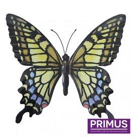 Metallischer gelb-blauer Schmetterling