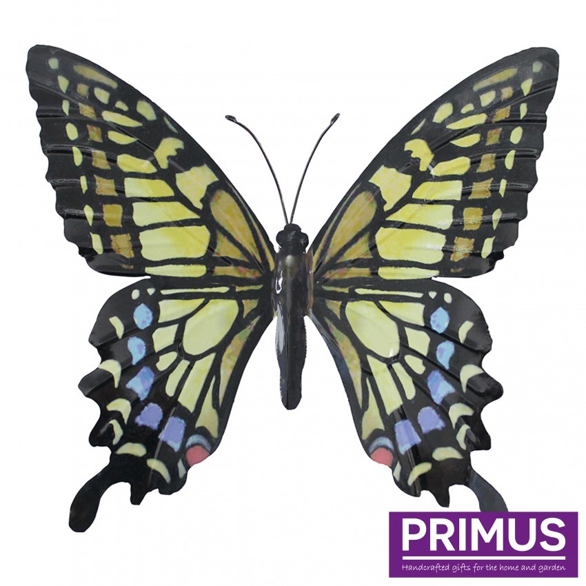 Metalen geel-blauwe vlinder