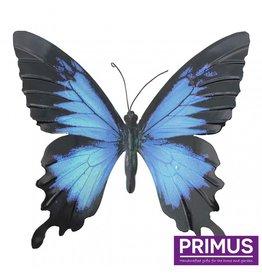 Metalen blauw-zwarte vlinder