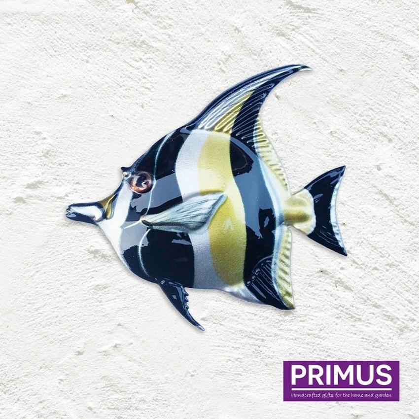 Metalen zwart-gele vis
