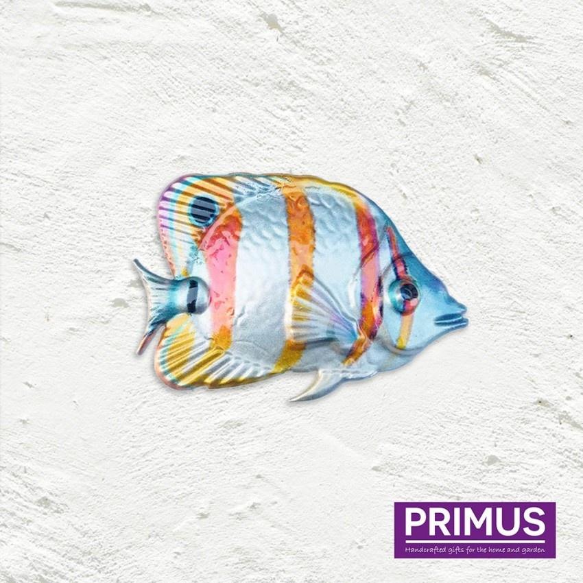 Metalen oranje-witte vis