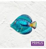Metalen blauwe vis