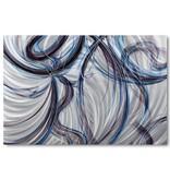 Bemalen von abstrakten Aluminium Blaue Linien 80x120cm