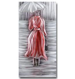Malerei Aluminium Frau im Regen 60x120cm