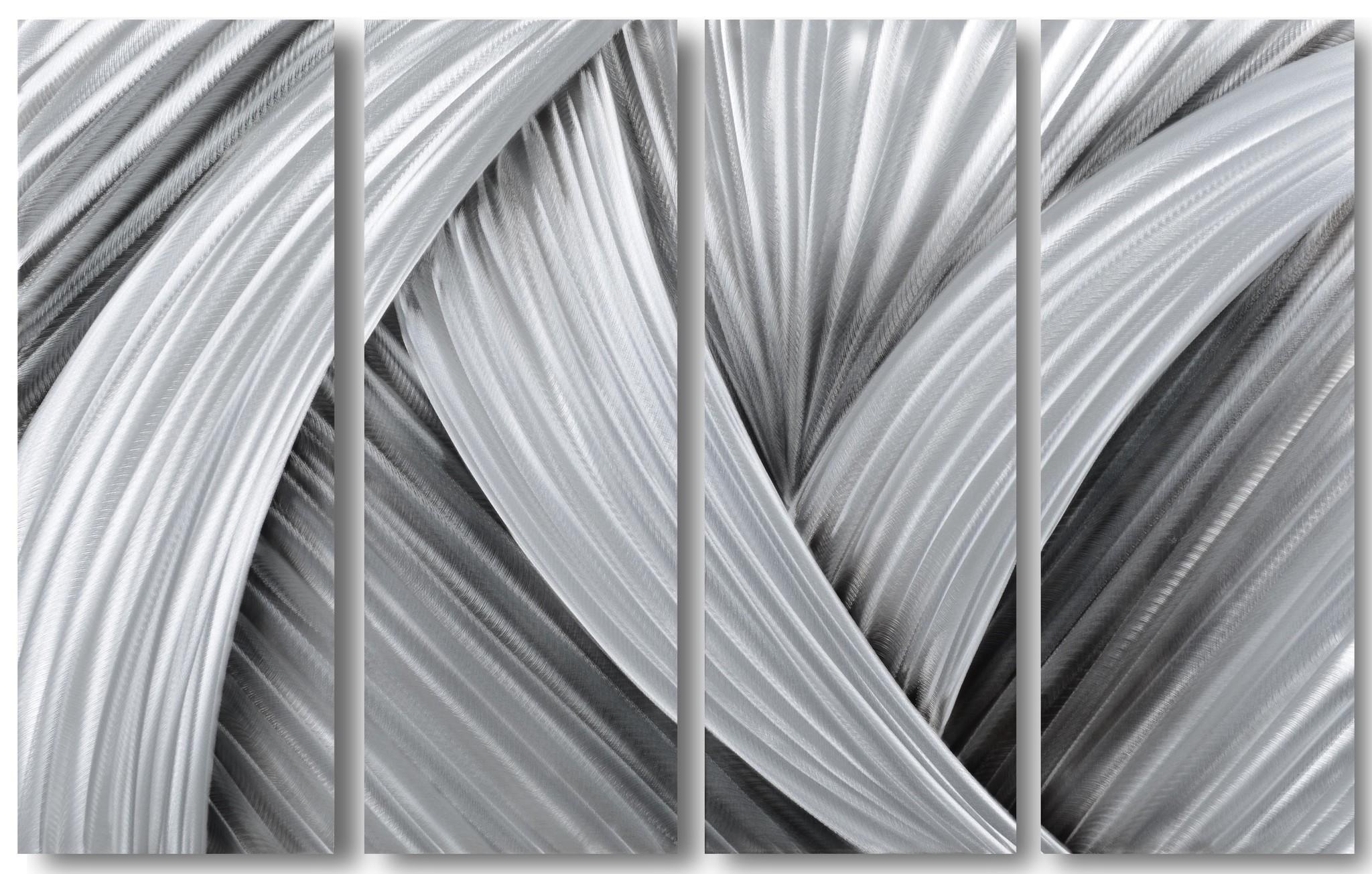 Abstraktes Aluminium lackieren Schwarz / Grau 80x120cm