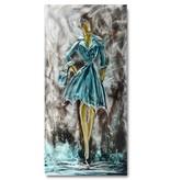 Bemalung Aluminium Woman in blau 60x120cm