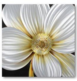 Painting aluminum White anemone 80x80cm