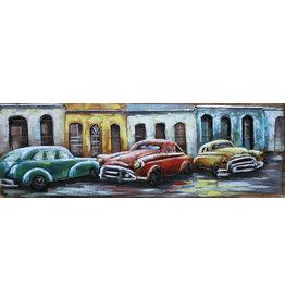 Eliassen Metaal schilderij Drie Auto's 50x150cm