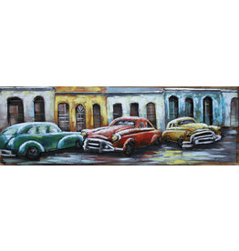 Eliassen Metal painting Three Cars 50x150cm