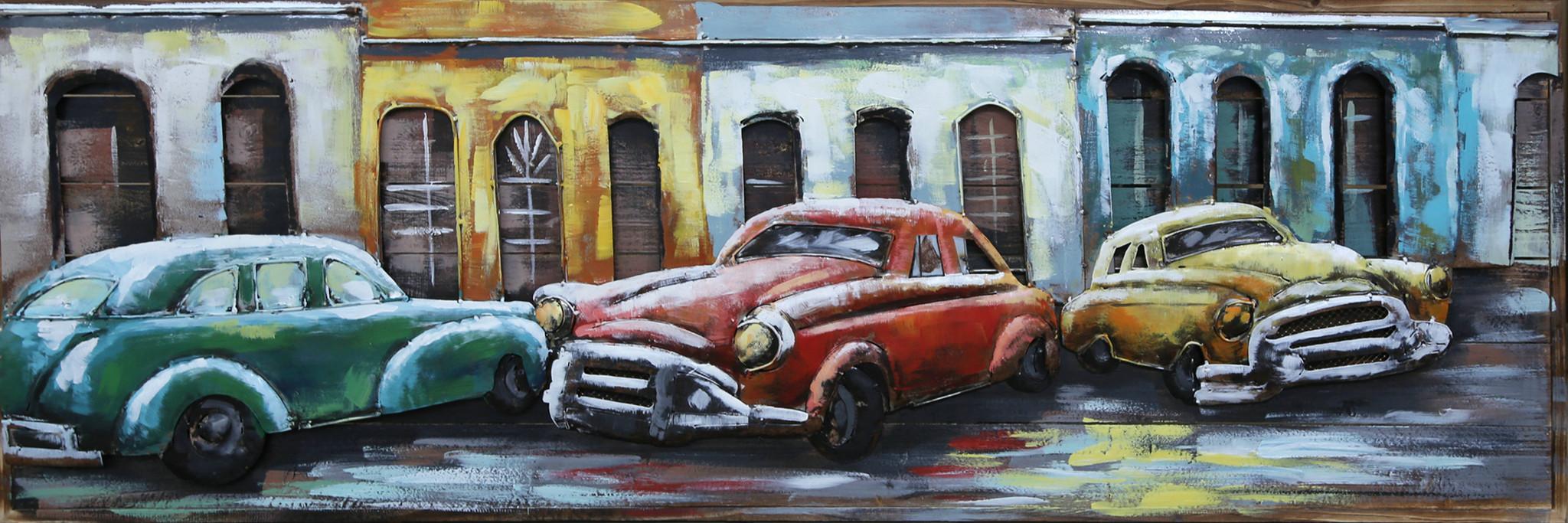 Eliassen Metal painting Three Cars 50x150cm