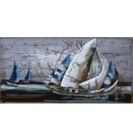 Eliassen Metaal schilderij Zeilers 70x140cm