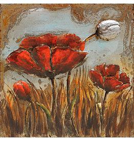 Eliassen Metaal schilderij  Bloem rood 80x80cm