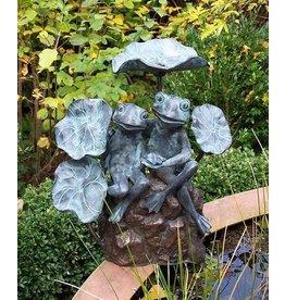 Eliassen Spuitfiguur brons 2 kikkers tussen bladeren