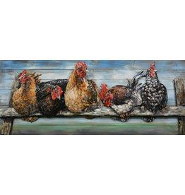 Eliassen 3D schilderij metaal  Kippen op de roest 60x150cm