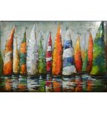 3d painting metal Sailboats group 120x80cm