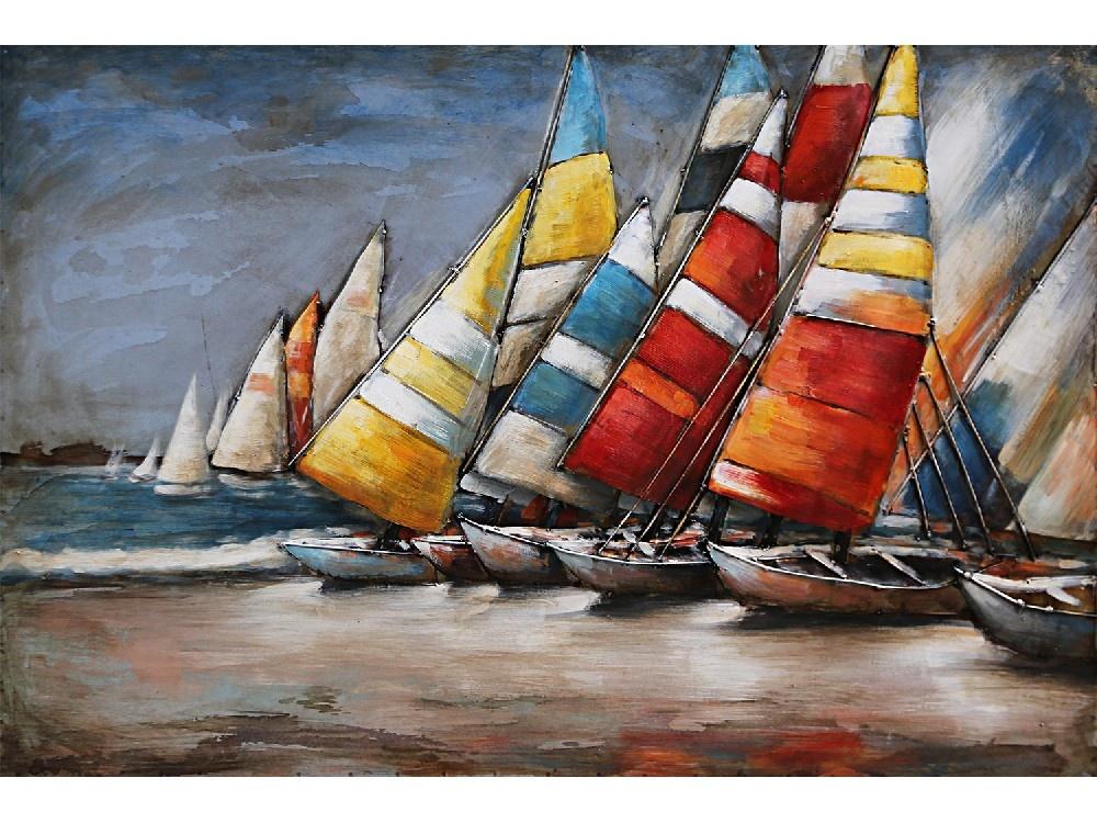 Eliassen Painting metal 3d 80x60cm Boats on the beach