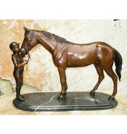 Eliassen Sculpture bronze horse with a guide