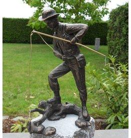 Eliassen Image bronze fisherman with fishing rod