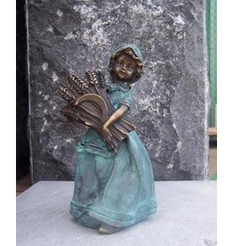 Eliassen Beeld brons vrouwtje met korenhalmen
