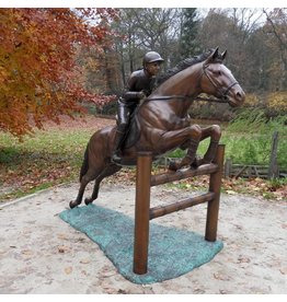 Eliassen Image bronze jumping horse with jockey