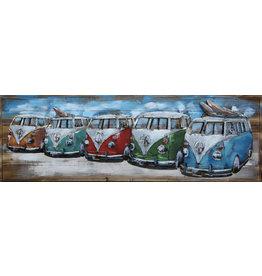 Painting 3D metal-wood Row Van 50x150cm