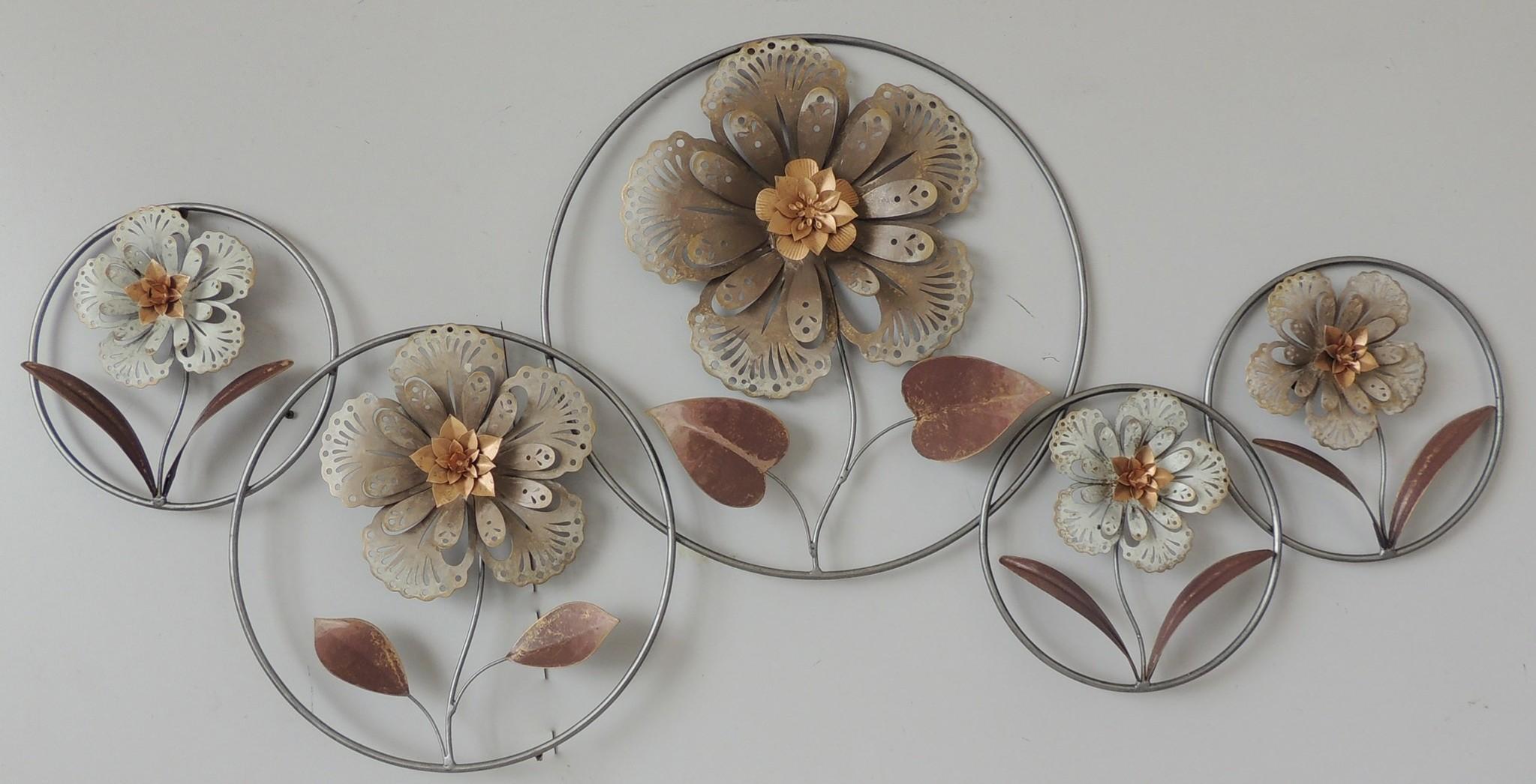 Wanddekoration 3d Blumen im Kreis 64x124cm