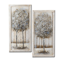 Oil paintings set diptych trees