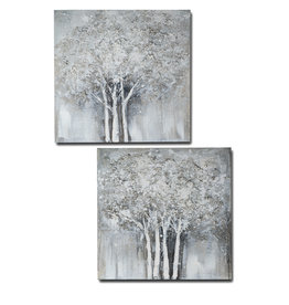 Diptych oil painting trees1