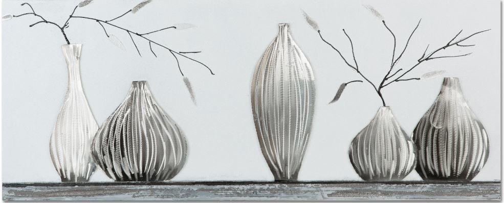 Oil painting 100x40cm 5 Vases - Copy