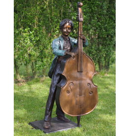 Bronze boy with double bass