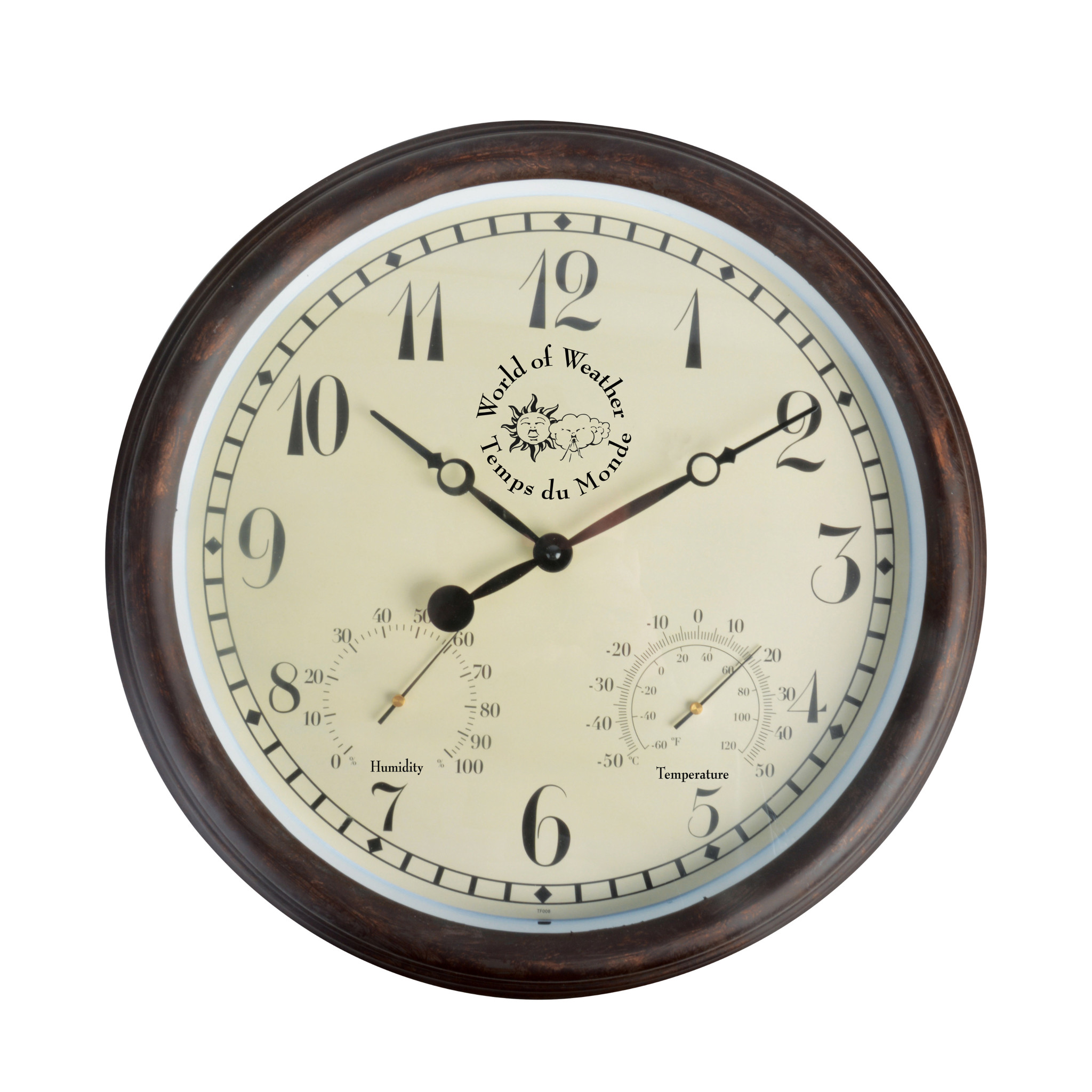 Outer clock with thermometer and hygrometer