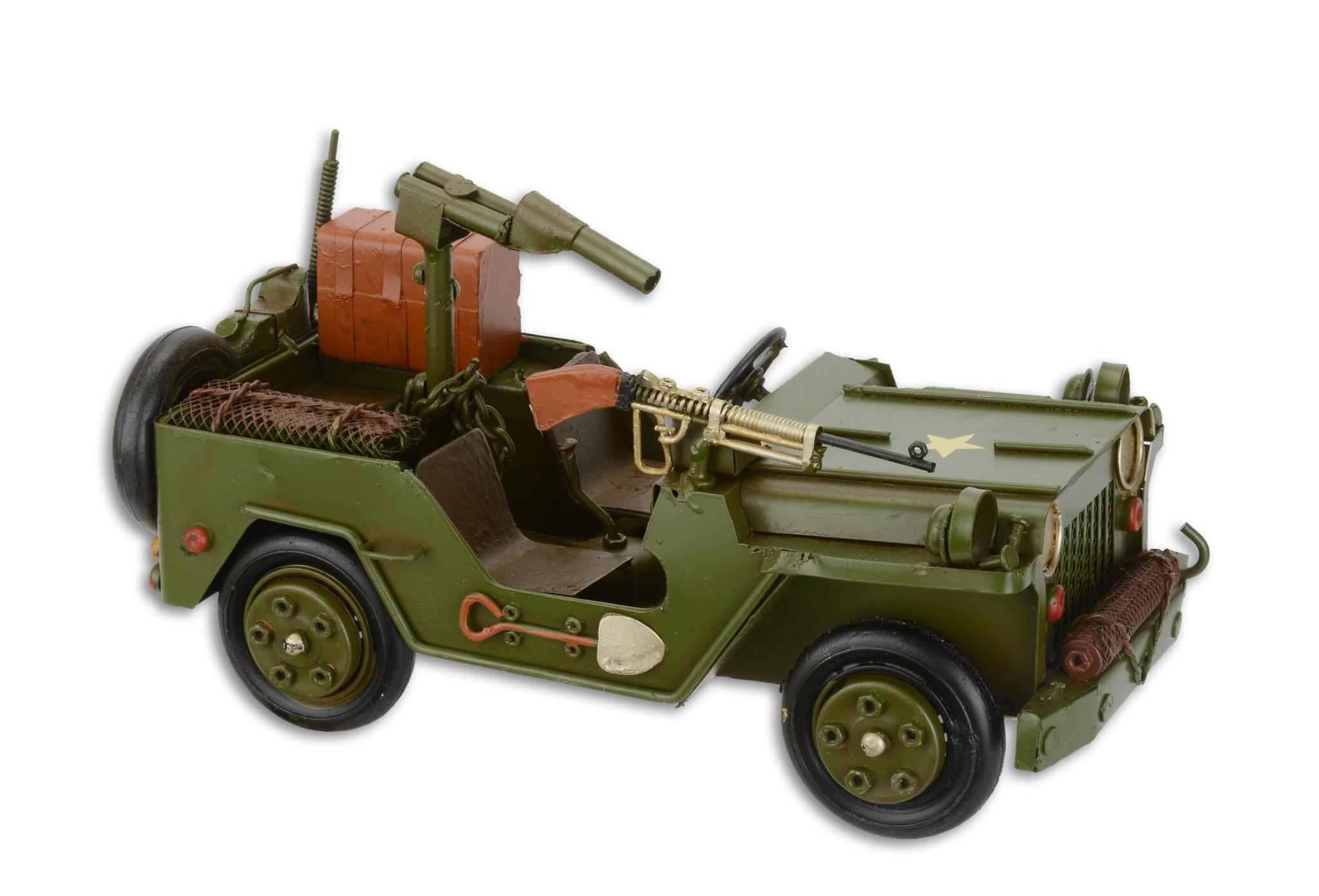 Eliassen Miniaturmodell Jeep mit Gewehr