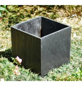 Square black slate planter