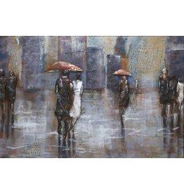 3D schilderij metaal 80x120cm Walking In The Rain