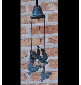 Eliassen Wind chimes bronze with roosters