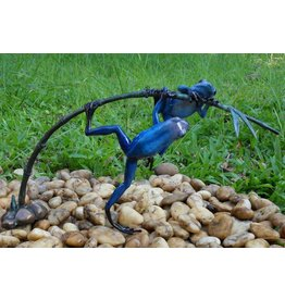 Eliassen Bronze statue two blue frog on a twig