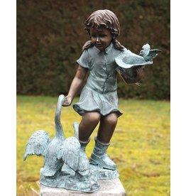 Eliassen Wasser Ornament Bronze Mädchen mit Gänsen