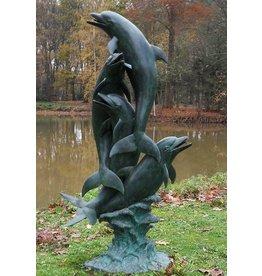 Eliassen Spuitfiguur brons dolfijnen