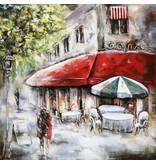 Eliassen 3D schilderij metaal 100x100cm Paris Cafe 2