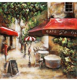 Eliassen 3D schilderij metaal 100x100cm Paris Cafe 3
