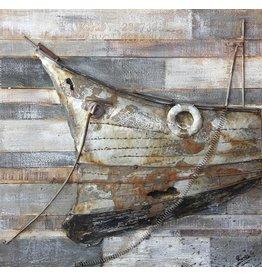 Eliassen Hout-metalen 3D schilderij 80x80cm Bow
