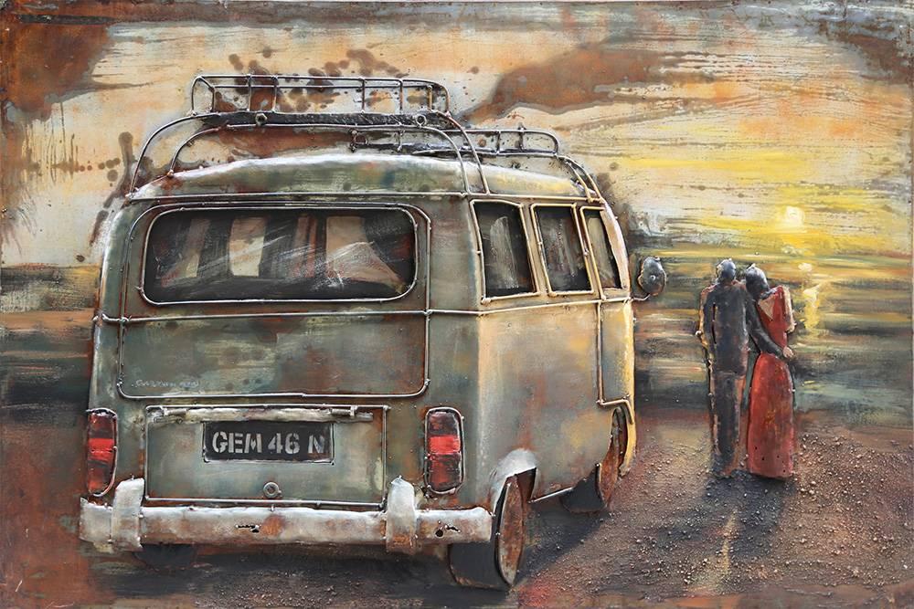 3d Schilderij Metaal.3d Schilderij Metaal Vw Bus 1 80x120cm