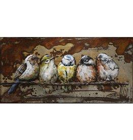 Eliassen 3D schilderij metaal 55x95cm Mussen