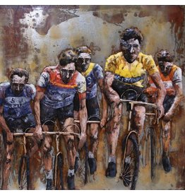 Eliassen 3-D painting cyclists 100x100cm