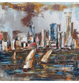 Eliassen Metaal schilderij Skyline 100x100cm